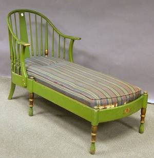 Stickley Colonial Revival Windsorstyle Greenpainted Maple Chaise