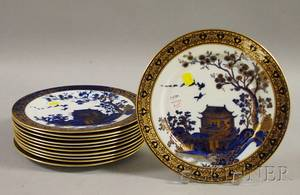 Set of Eleven Adderleys Gilt and Cobalt Blue Chinoiseriedecorated Bone China Dinner Plates