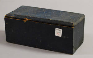Small Bluepainted Wood Lidded Box