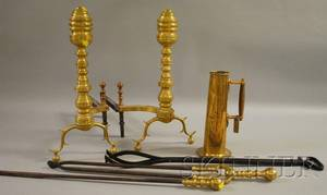 Pair of George III Brass Ringturned Andirons a Pair of Brasshandled Tools Wrought Iron Tongs and a Brass Measure