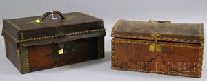 Two Leatherclad Document Boxes