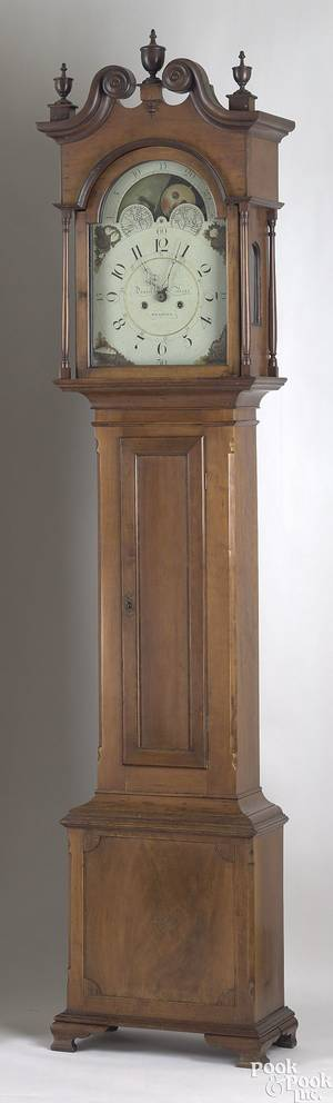 Pennsylvania cherry tall case clock ca 1790
