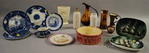Six Pieces of Assorted Art Pottery and Ten Pieces of Assorted Decorated Ceramic Tableware