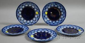 Set of Five Wood  Son Gilt and Flow Blue Martha Washington Pattern Ceramic Plates