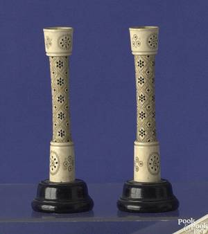 Pair of Persian carved ivory candlesticks ca 1800