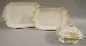 Two Limoges Porcelain Platters and a Paris Porcelain Giltdecorated Covered Serving Bowl