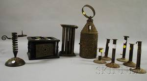 Ten Assorted Tin and Iron Lighting and Accessory Items