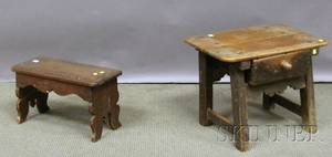 Rustic Blackpainted Pine Work Stool with Drawer and a Rustic Walnut Stool