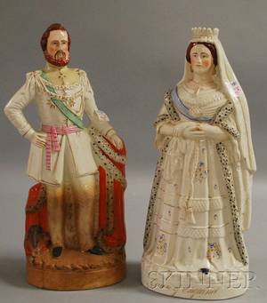 Pair of Queen Victoria and Prince of Wales Staffordshire Figures