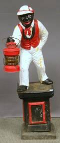 Painted Cast Iron Garden Lawn Jockey Figure
