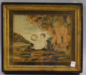 Framed 19th Century European Needlework Panel Depicting a Child with a Tambourine in a Landscape