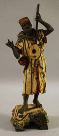 Polychrome Cold Painted Cast Metal Figure of a Moorish Musician