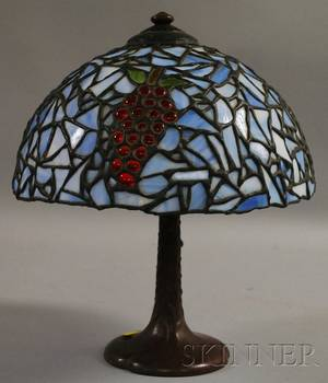 Modern Leaded Art Glass Table Lamp with Handelstyle Cast Metal Base