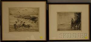 Attributed to Charles Herbert Woodbury American 18641940 Lot of Two Etchings of Ocean Scenes