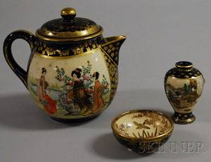 Three Satsuma Gilt and Enamel Decorated Pottery Items