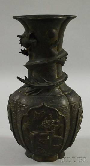 Chinese Cast Bronze Lobed Vase with Dragon Figure