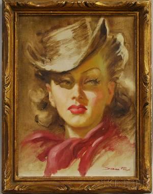 American School 20th Century Portrait Head of Woman in Western Attire