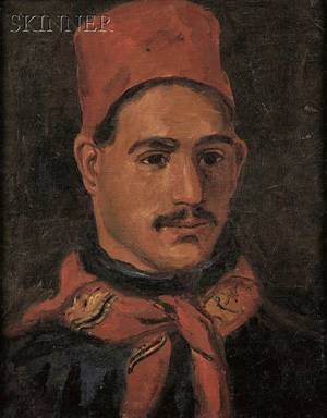 Attributed to William Morris Hunt American 18241879 Portrait of a Man Wearing a Red Fez