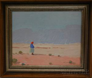 American School 20th Century Desert Landscape with Figure