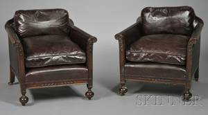 Pair of Victorian Leatherupholstered Mahogany Club Chairs