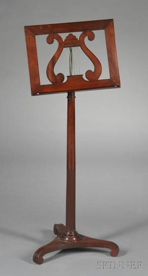 Regencystyle Mahogany and Brassmounted Music Stand