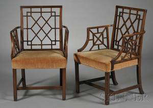 Pair of George IIIstyle Mahogany Cockpen Armchairs
