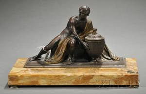 Figural Bronze and Marble Inkstand Depicting Voltaire