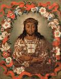Spanish Colonial Style 18th19th Century Head of Christ Wearing Crown of Thorns