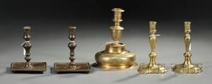 Five Brass Candlesticks