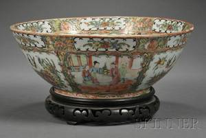 Rose Medallion Decorated Porcelain Punch Bowl