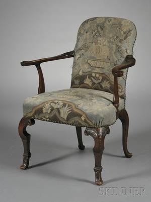 William  Marystyle Needlepointupholstered Walnut Open Armchair