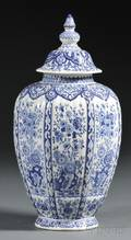 Blue and White Delft Vase and Cover