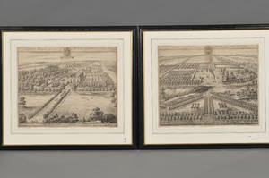 Johannes Kip Dutch c 16531722 Lot of Two Etchings of English Country Seats Cleeve Hill