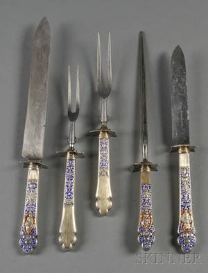 Gorham Sterling Gilt and Enameled MediciOld Pattern Fivepiece Carving Set