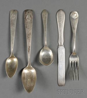 Group of American Silver Flatware Items