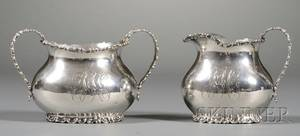 Durgin Sterling Creamer and Twohandled Sugar Bowl