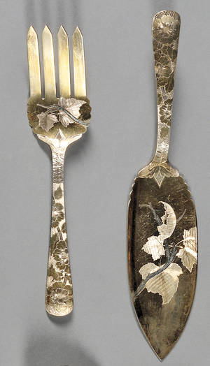 Pair of Parcelgilt and Etched Sterling Fish Servers