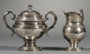 Empire Coin Silver Covered Sugar Bowl and Similar Cream Jug