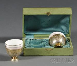 Pair of Turkish Parcelgilt Silver Cups with Russian Porcelain Liners