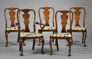 Set of Five Queen Annestyle Walnut Dining Chairs