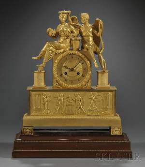 French Empire Figural Ormolu Mantel Clock