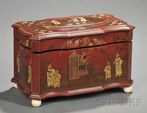 Chinoiseriedecorated Red Lacquer Tea Caddy