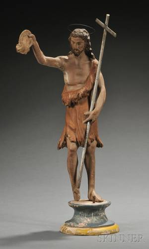 Carved and Polychrome Painted Wood Figure of John the Baptist