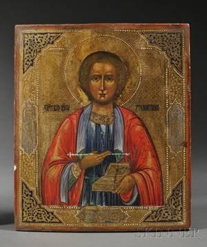 Russian Icon of Saint Panteleimon The Healer