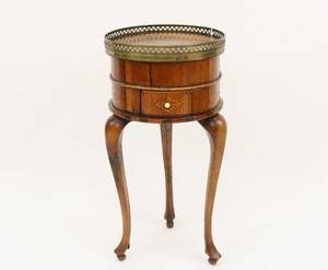 Early 19th c Small Round Stand with Brass Gallery