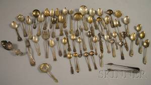 Large Group of Mostly Silver Assorted Flatware and Small Serving Items