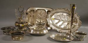 Nine Silverplated Table Items