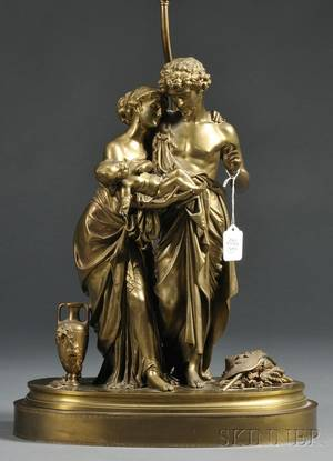 French Dore Bronze Figural Lamp Base
