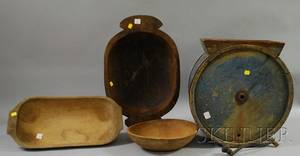 Three Hewn and Turned Wooden Bowls and a Bluepainted Wood Countertop Drum Churn