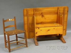 Country Rectangular Pine Breadboardtop Hutch Table and a Small Wood Slatback Chair with Woven Splint Seat
